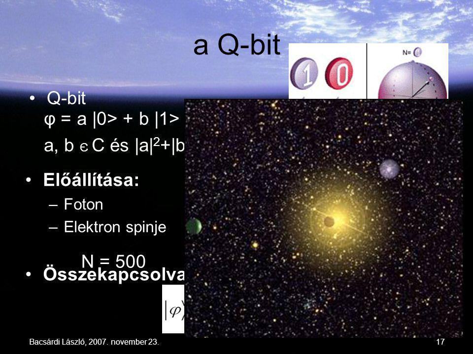 a Q-bit Q-bit φ = a |0> + b |1> a, b Є C és |a|2+|b|2 = 1