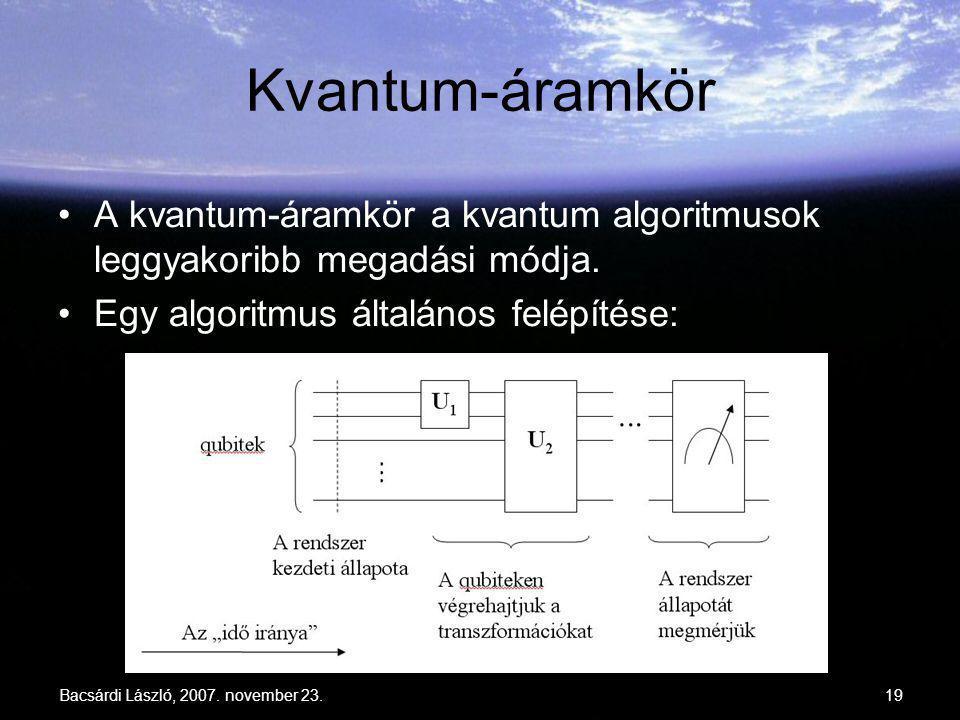 Kvantum-áramkör A kvantum-áramkör a kvantum algoritmusok leggyakoribb megadási módja. Egy algoritmus általános felépítése: