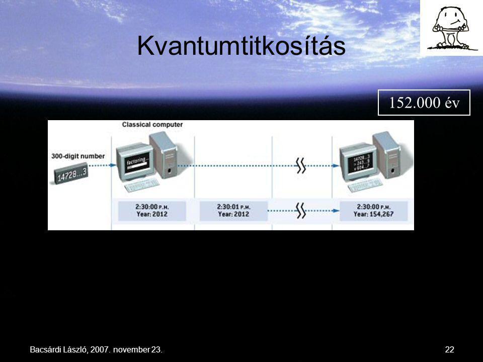 Kvantumtitkosítás 152.000 év 1 sec Bacsárdi László, 2007. november 23.