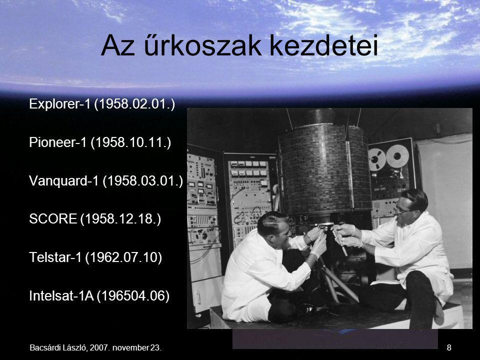 Az űrkoszak kezdetei Explorer-1 (1958.02.01.) Pioneer-1 (1958.10.11.)
