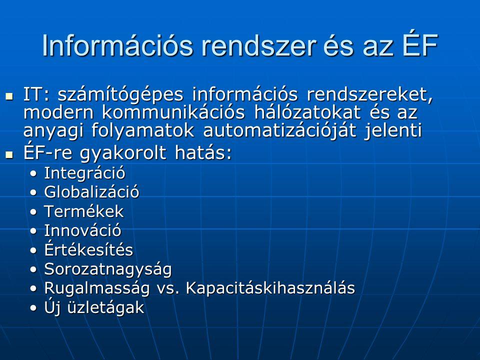 Információs rendszer és az ÉF