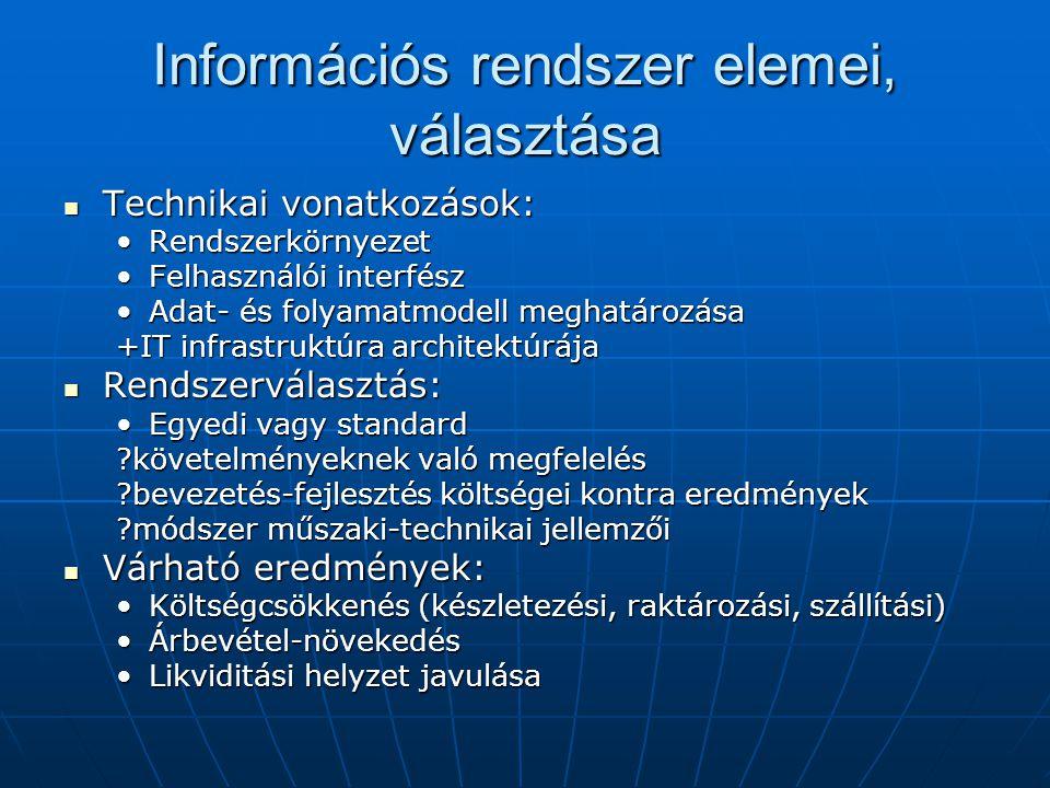 Információs rendszer elemei, választása