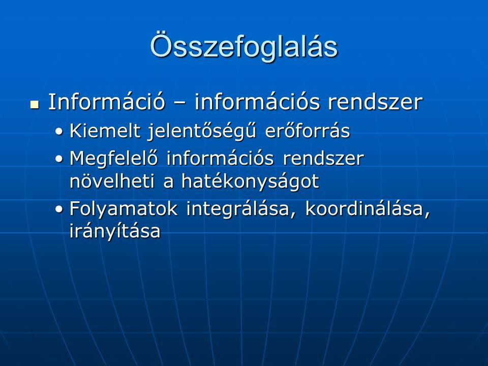 Összefoglalás Információ – információs rendszer
