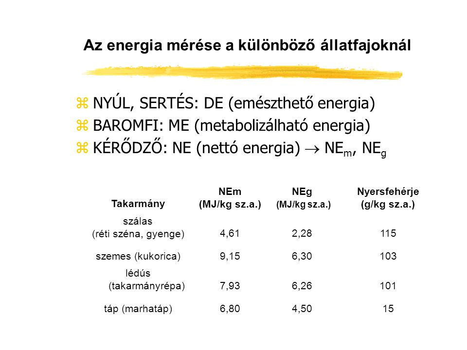 Az energia mérése a különböző állatfajoknál