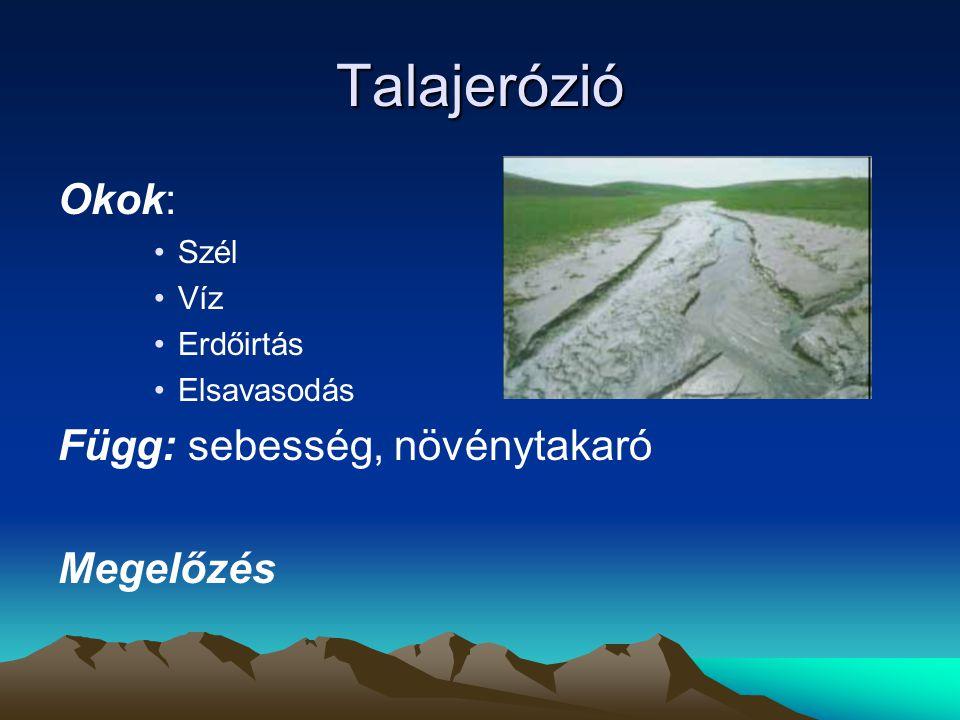 Talajerózió Okok: Függ: sebesség, növénytakaró Megelőzés Szél Víz