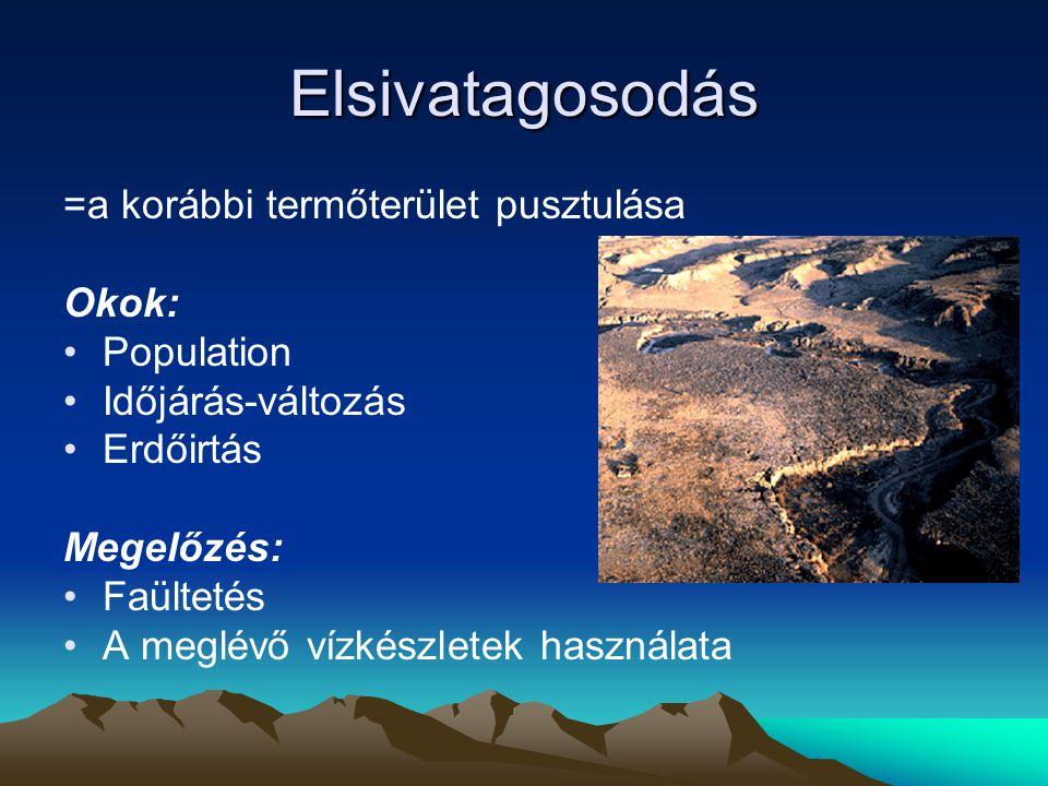 Elsivatagosodás =a korábbi termőterület pusztulása Okok: Population