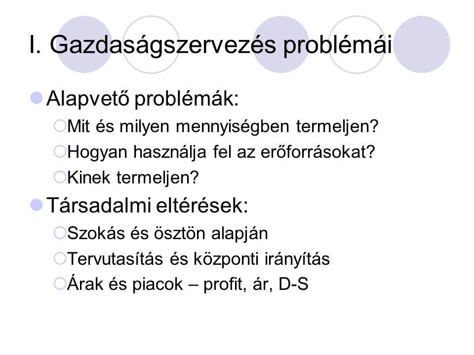 I. Gazdaságszervezés problémái