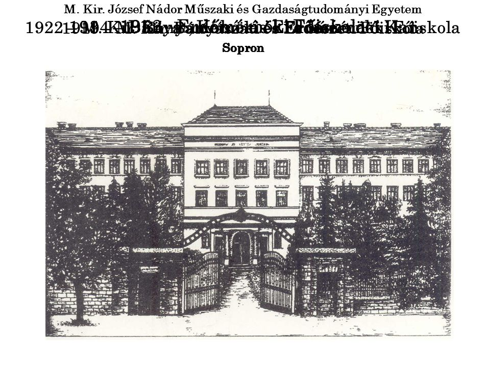 1952 –Erdőmérnöki Főiskola