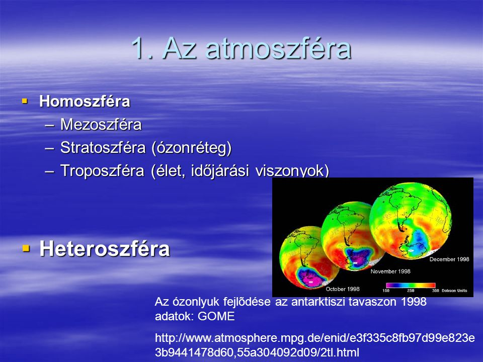 1. Az atmoszféra Heteroszféra Homoszféra Mezoszféra