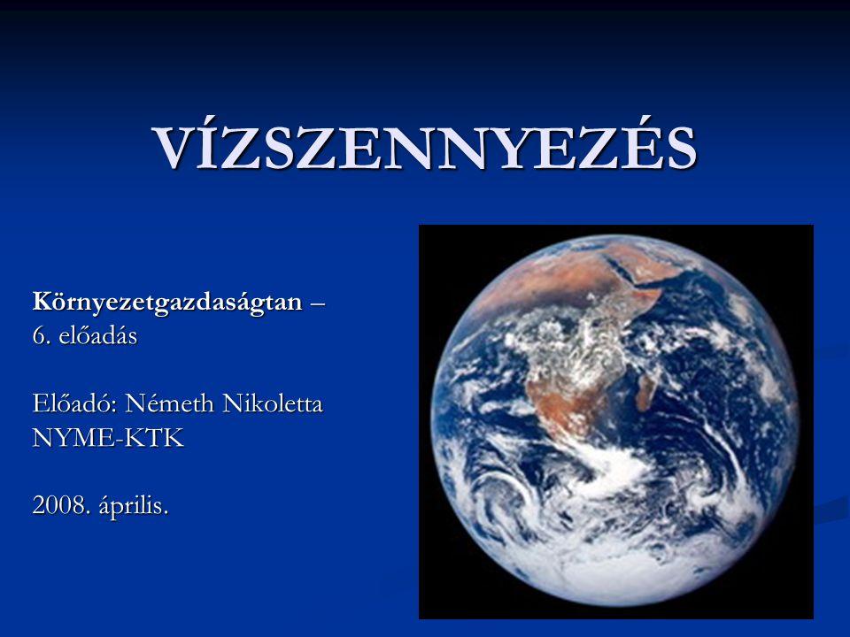 VÍZSZENNYEZÉS Környezetgazdaságtan – 6. előadás