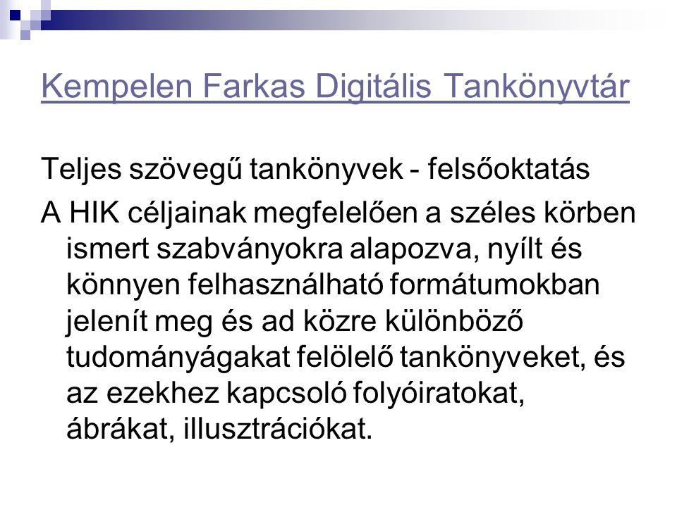 Kempelen Farkas Digitális Tankönyvtár