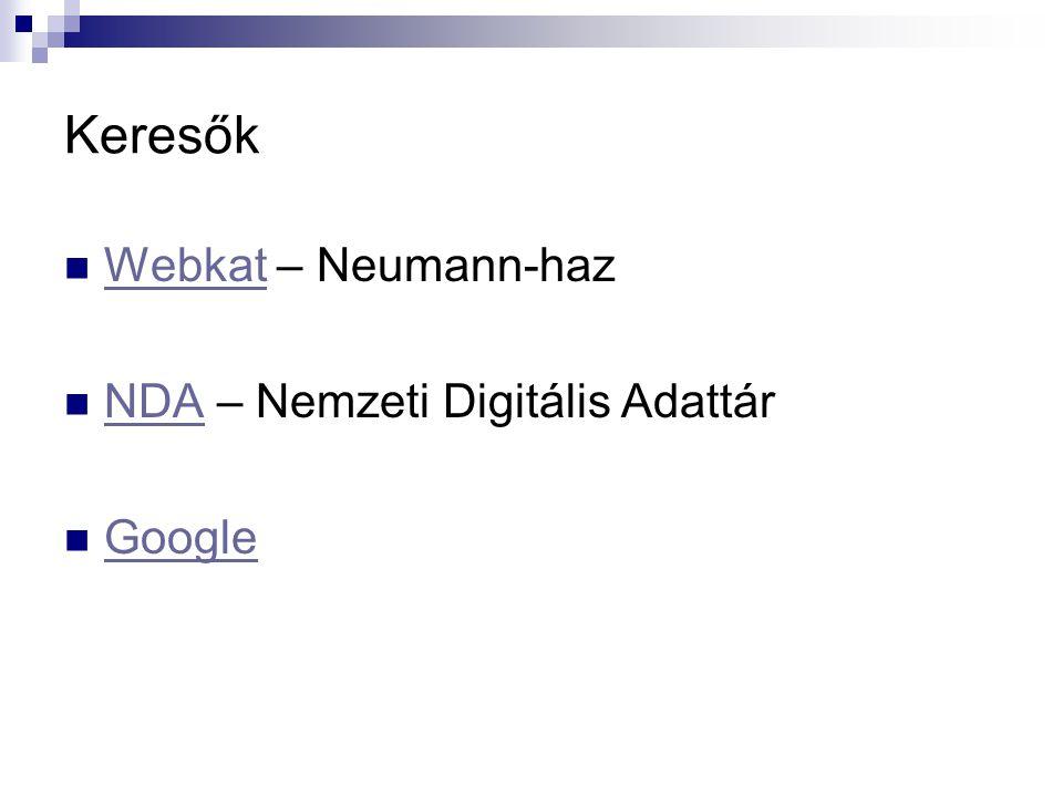 Keresők Webkat – Neumann-haz NDA – Nemzeti Digitális Adattár Google