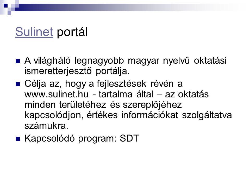 Sulinet portál A világháló legnagyobb magyar nyelvű oktatási ismeretterjesztő portálja.