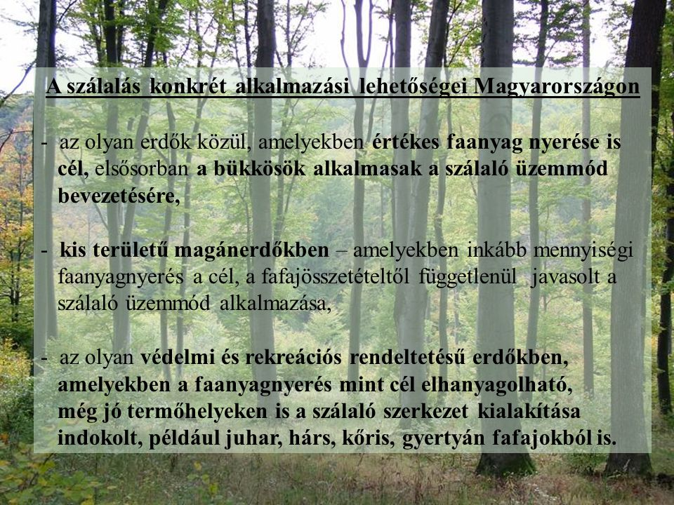 A szálalás konkrét alkalmazási lehetőségei Magyarországon