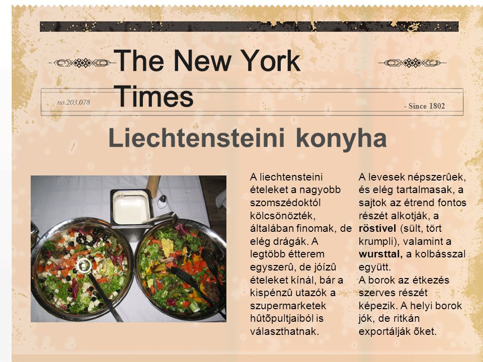 The New York Times Liechtensteini konyha