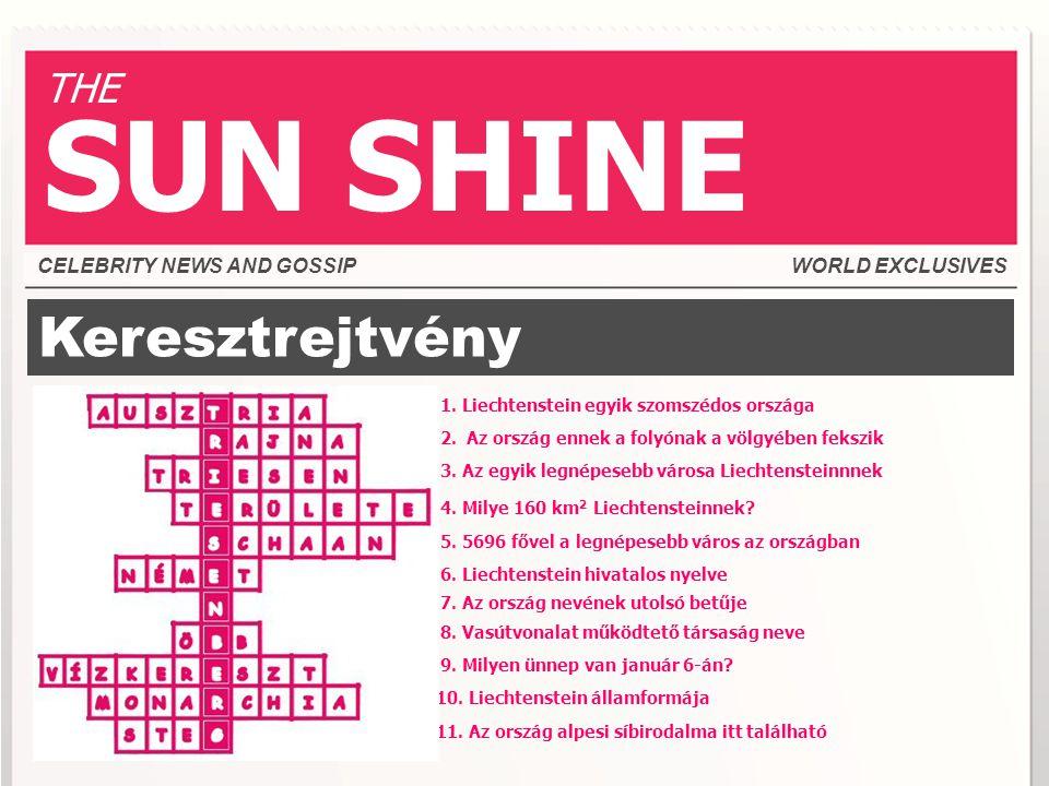 SUN SHINE Keresztrejtvény THE CELEBRITY NEWS AND GOSSIP