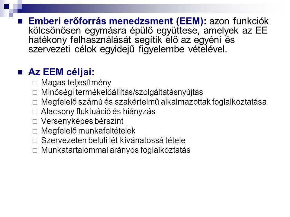 Emberi erőforrás menedzsment (EEM): azon funkciók kölcsönösen egymásra épülő együttese, amelyek az EE hatékony felhasználását segítik elő az egyéni és szervezeti célok egyidejű figyelembe vételével.