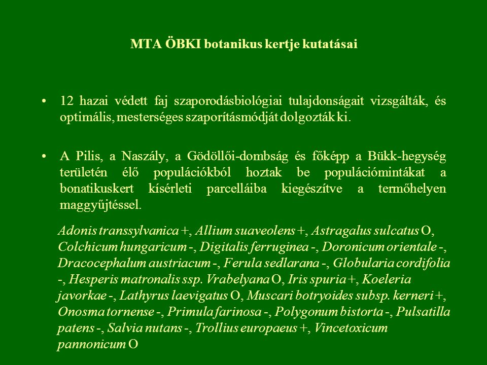 MTA ÖBKI botanikus kertje kutatásai