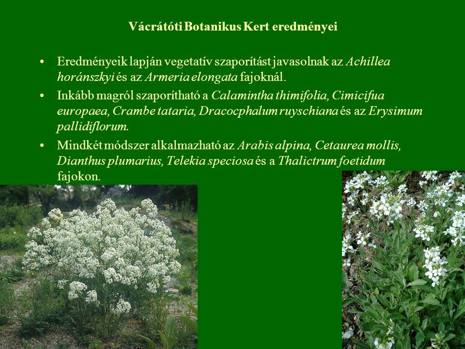 Vácrátóti Botanikus Kert eredményei