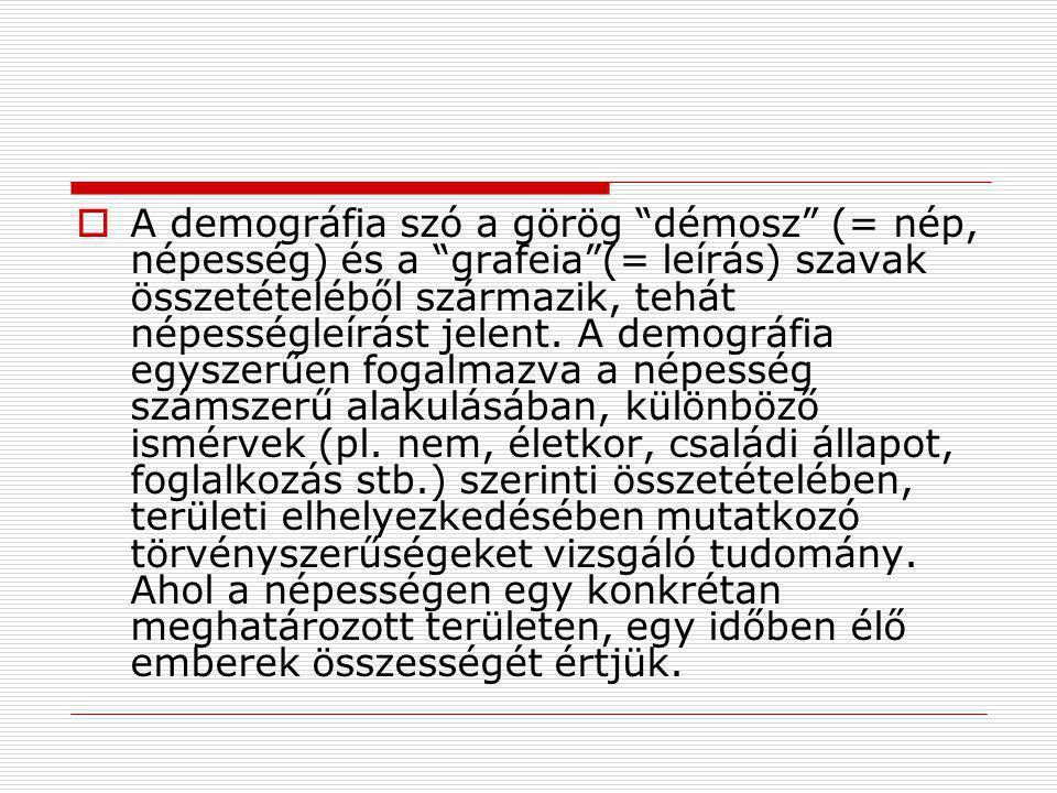 A demográfia szó a görög démosz (= nép, népesség) és a grafeia (= leírás) szavak összetételéből származik, tehát népességleírást jelent.