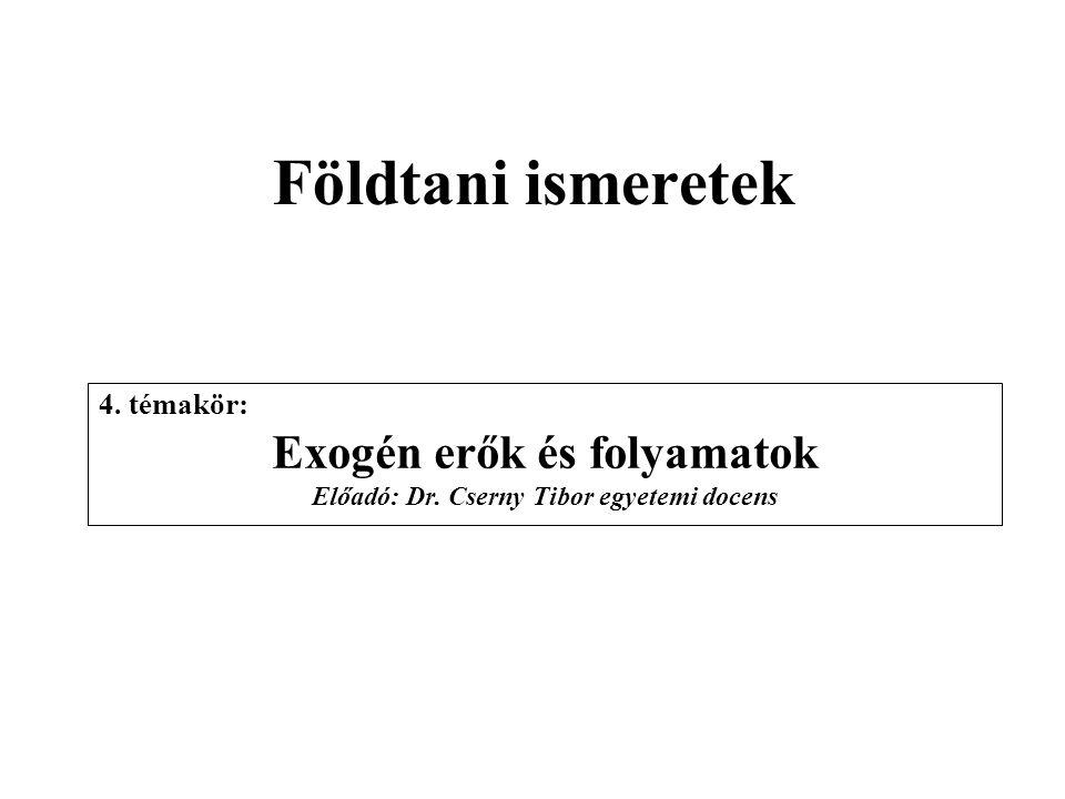 Exogén erők és folyamatok Előadó: Dr. Cserny Tibor egyetemi docens