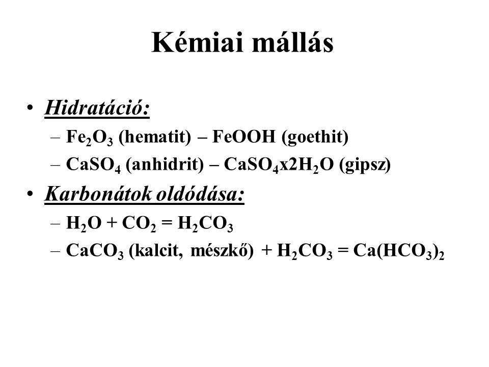 Kémiai mállás Hidratáció: Karbonátok oldódása:
