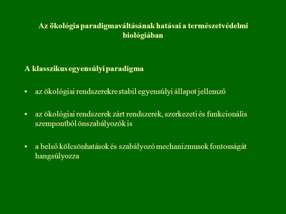 Az ökológia paradigmaváltásának hatásai a természetvédelmi biológiában