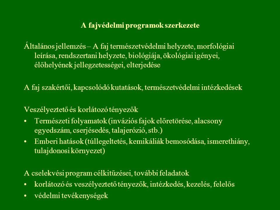 A fajvédelmi programok szerkezete