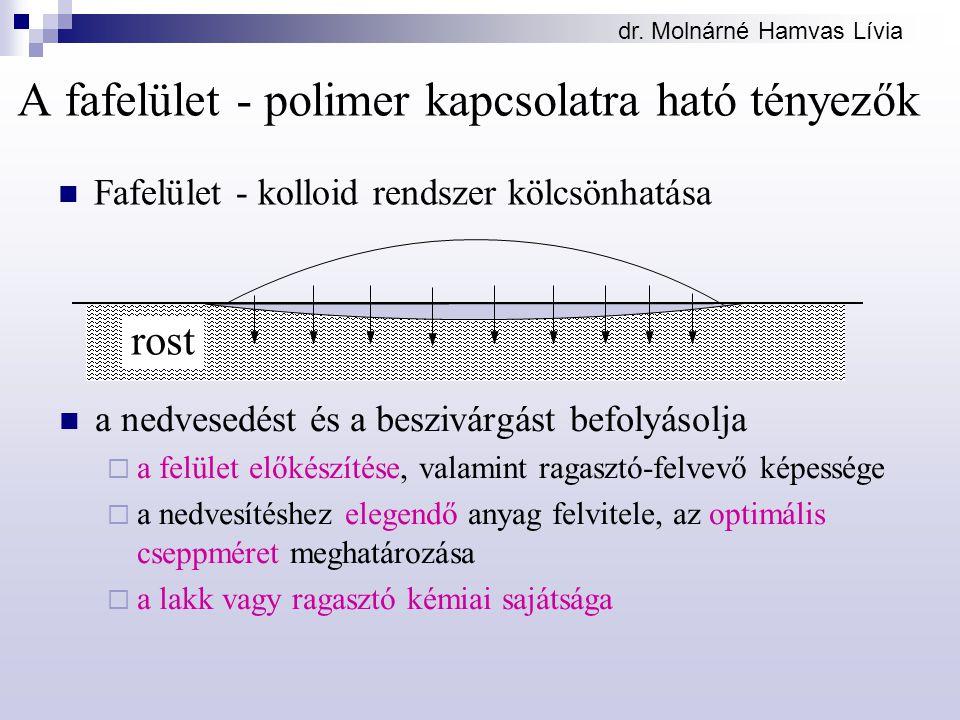 A fafelület - polimer kapcsolatra ható tényezők