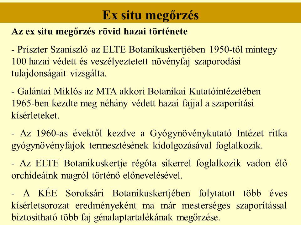 Ex situ megőrzés Az ex situ megőrzés rövid hazai története