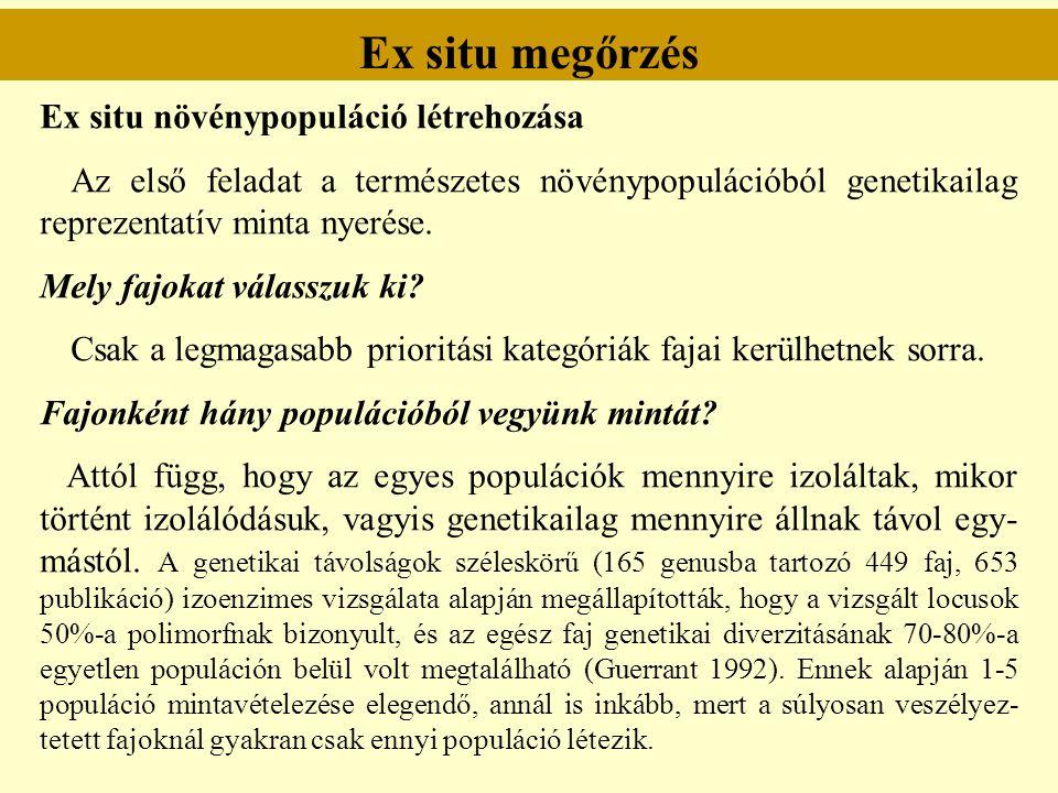 Ex situ megőrzés Ex situ növénypopuláció létrehozása