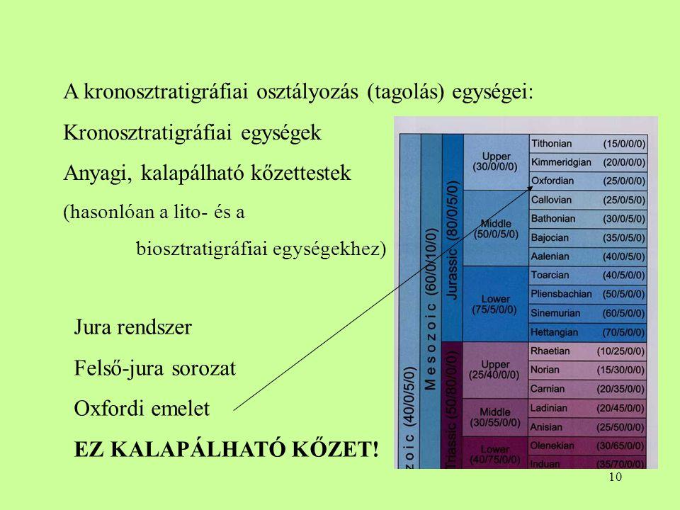 A kronosztratigráfiai osztályozás (tagolás) egységei:
