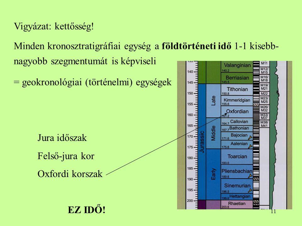 Vigyázat: kettősség! Minden kronosztratigráfiai egység a földtörténeti idő 1-1 kisebb-nagyobb szegmentumát is képviseli.