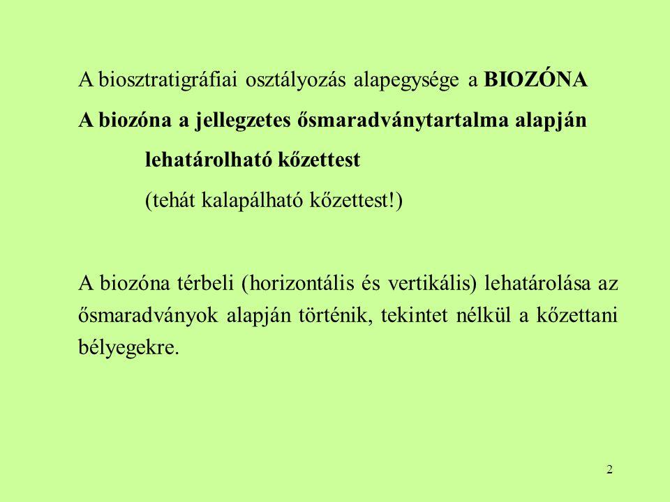 A biosztratigráfiai osztályozás alapegysége a BIOZÓNA