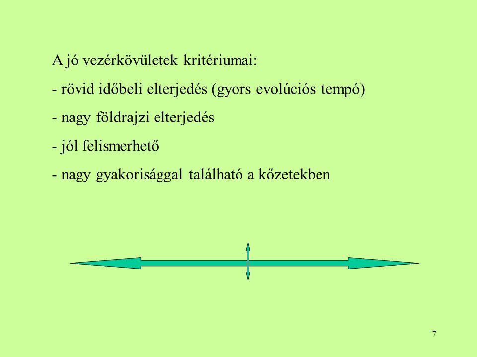 A jó vezérkövületek kritériumai: