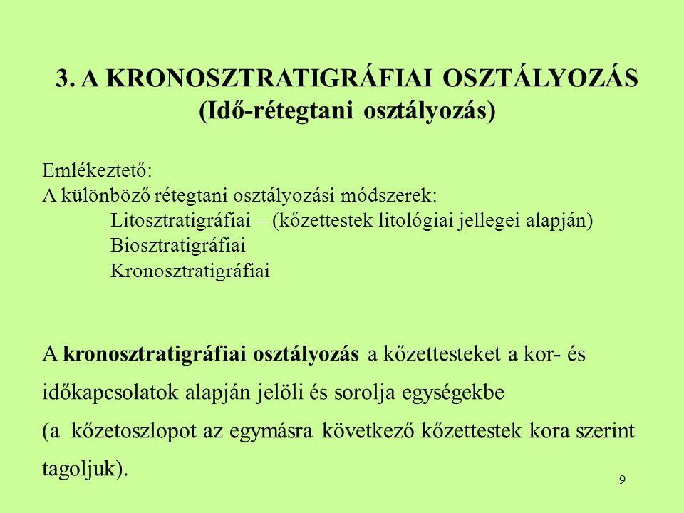 3. A KRONOSZTRATIGRÁFIAI OSZTÁLYOZÁS (Idő-rétegtani osztályozás)