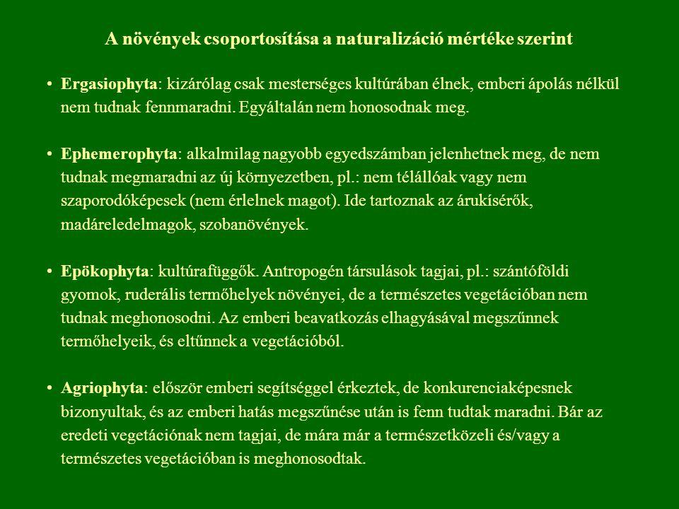A növények csoportosítása a naturalizáció mértéke szerint