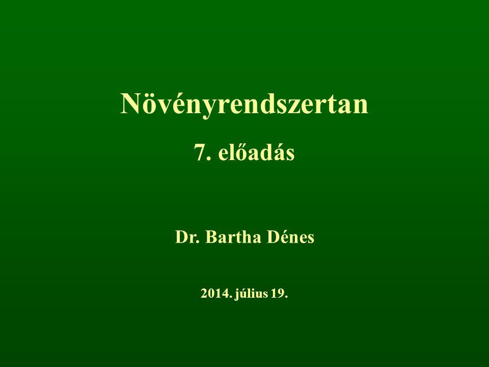Növényrendszertan 7. előadás Dr. Bartha Dénes 2017. április 4.