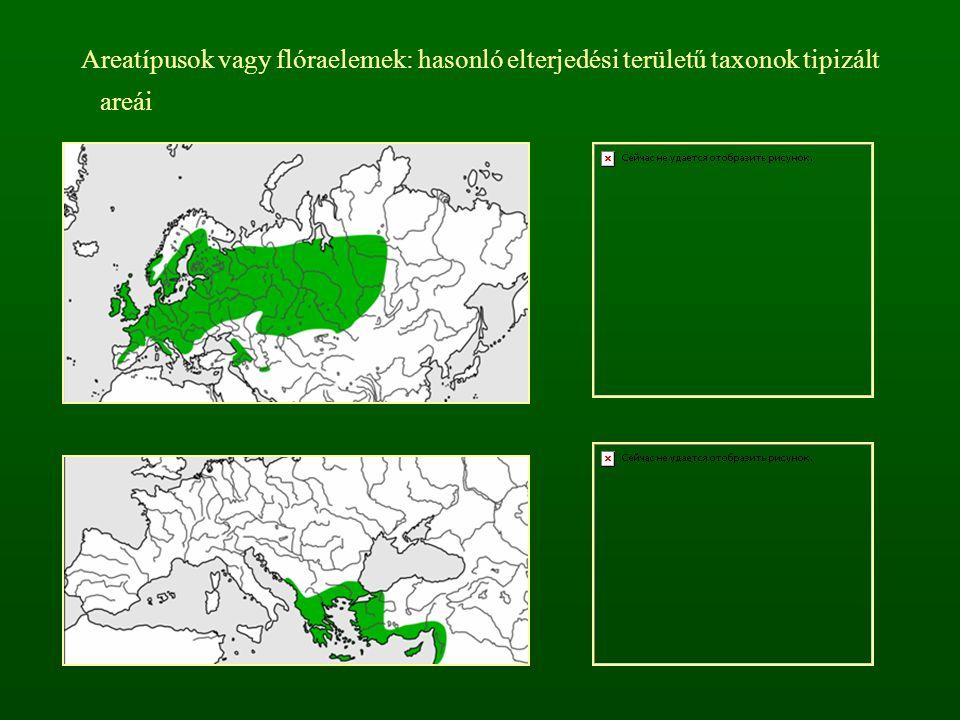 Areatípusok vagy flóraelemek: hasonló elterjedési területű taxonok tipizált areái