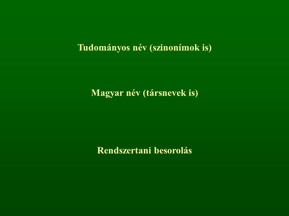 Tudományos név (szinonímok is) Magyar név (társnevek is)