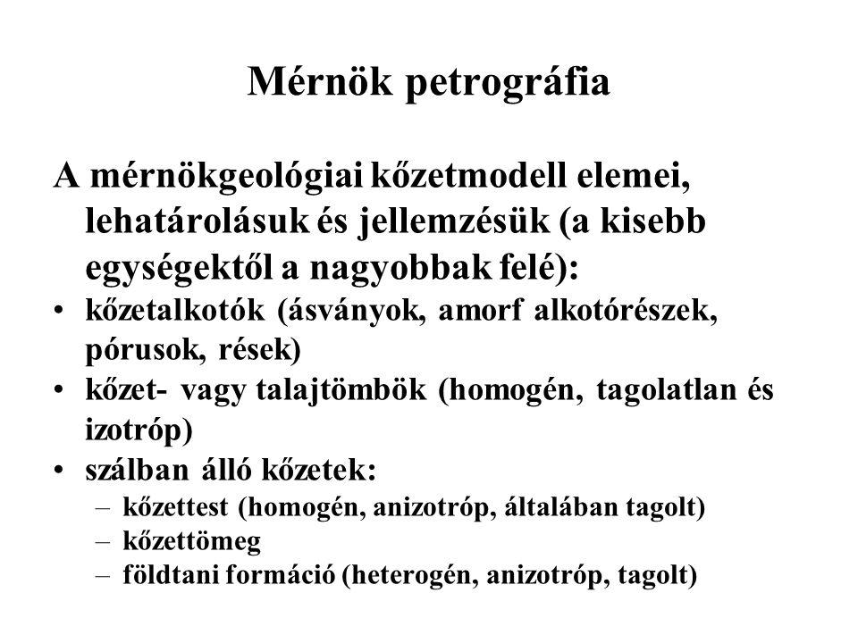 Mérnök petrográfia A mérnökgeológiai kőzetmodell elemei, lehatárolásuk és jellemzésük (a kisebb egységektől a nagyobbak felé):