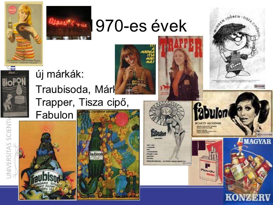 1970-es évek új márkák: Traubisoda, Márka, Trapper, Tisza cipő, Fabulon