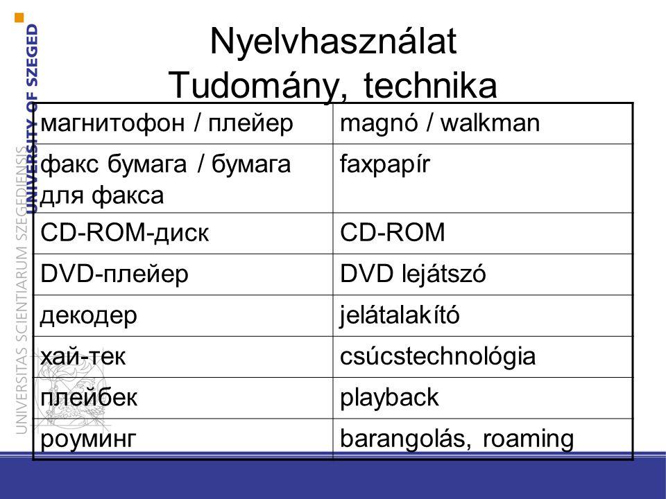 Nyelvhasználat Tudomány, technika