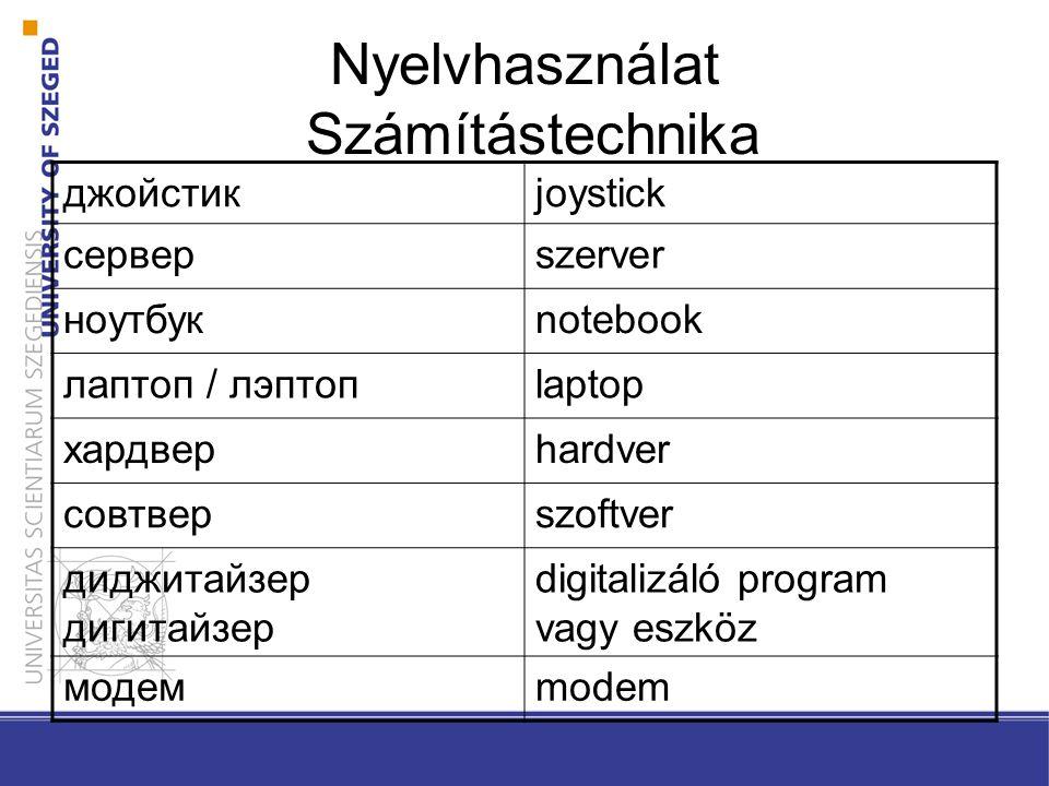 Nyelvhasználat Számítástechnika