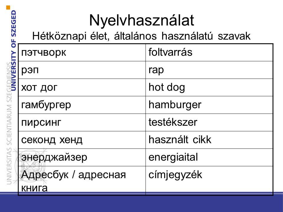 Nyelvhasználat Hétköznapi élet, általános használatú szavak