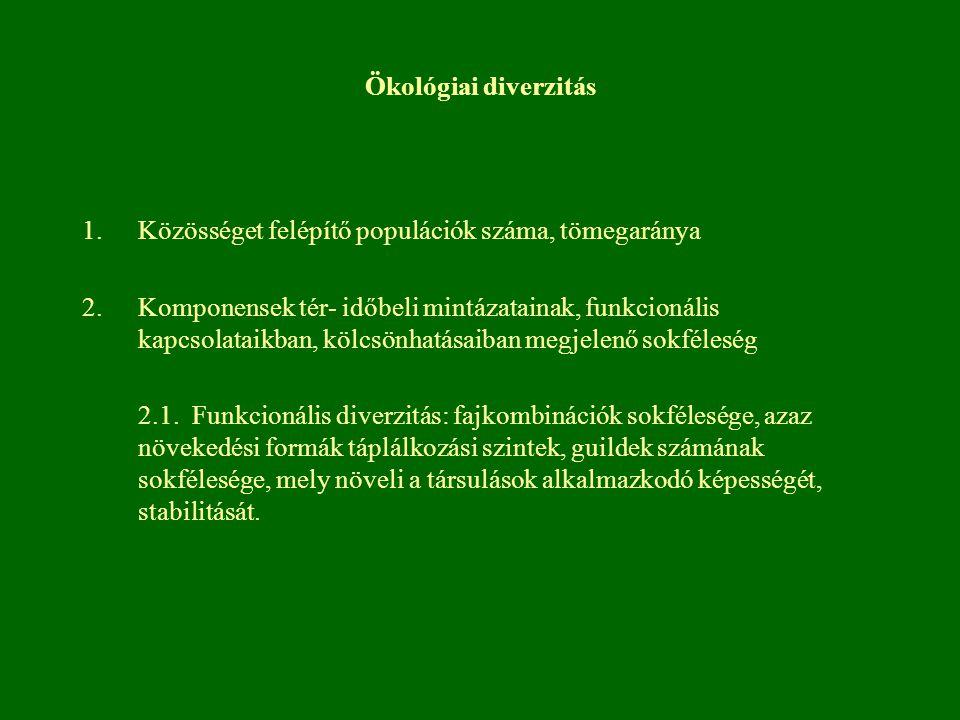 Ökológiai diverzitás Közösséget felépítő populációk száma, tömegaránya.