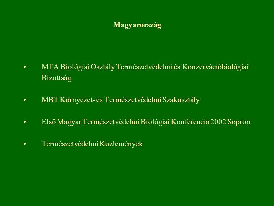 Magyarország MTA Biológiai Osztály Természetvédelmi és Konzervációbiológiai Bizottság. MBT Környezet- és Természetvédelmi Szakosztály.