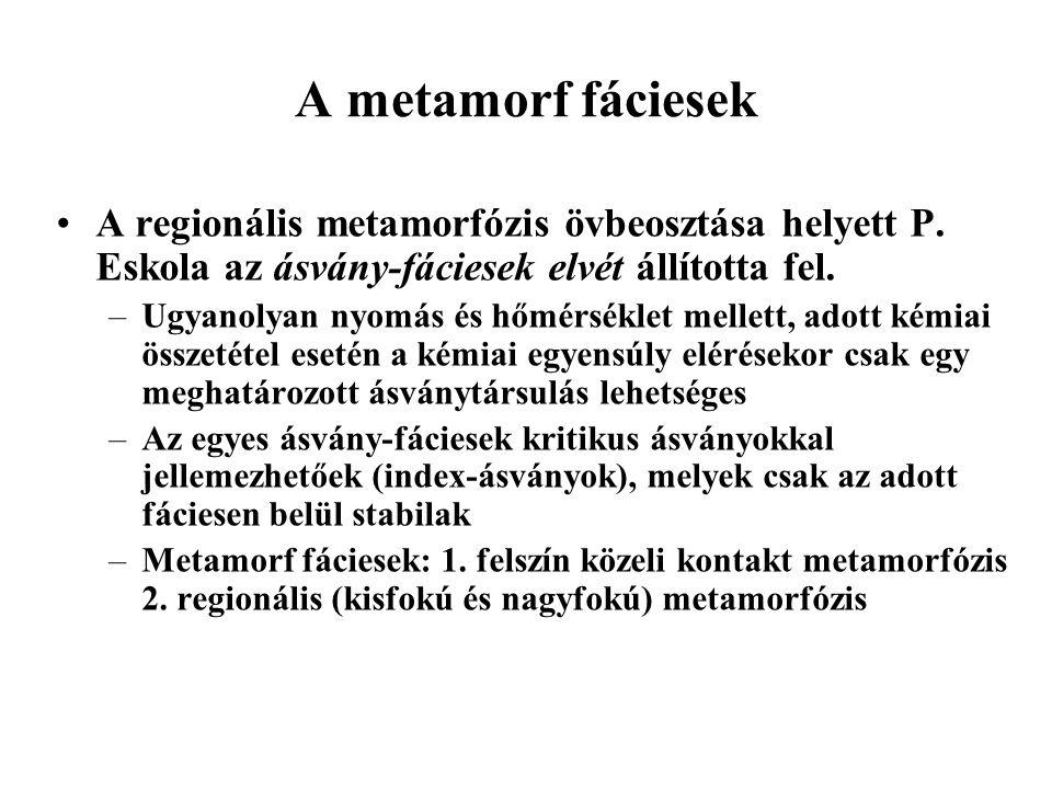 A metamorf fáciesek A regionális metamorfózis övbeosztása helyett P. Eskola az ásvány-fáciesek elvét állította fel.