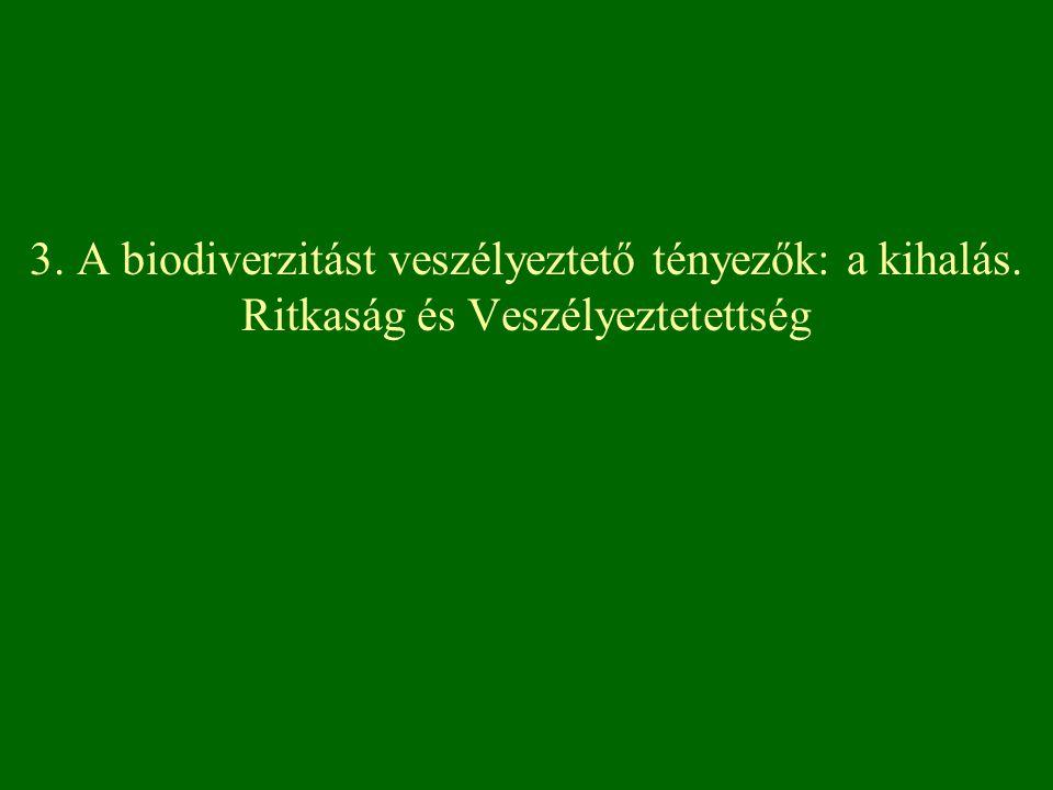 3. A biodiverzitást veszélyeztető tényezők: a kihalás