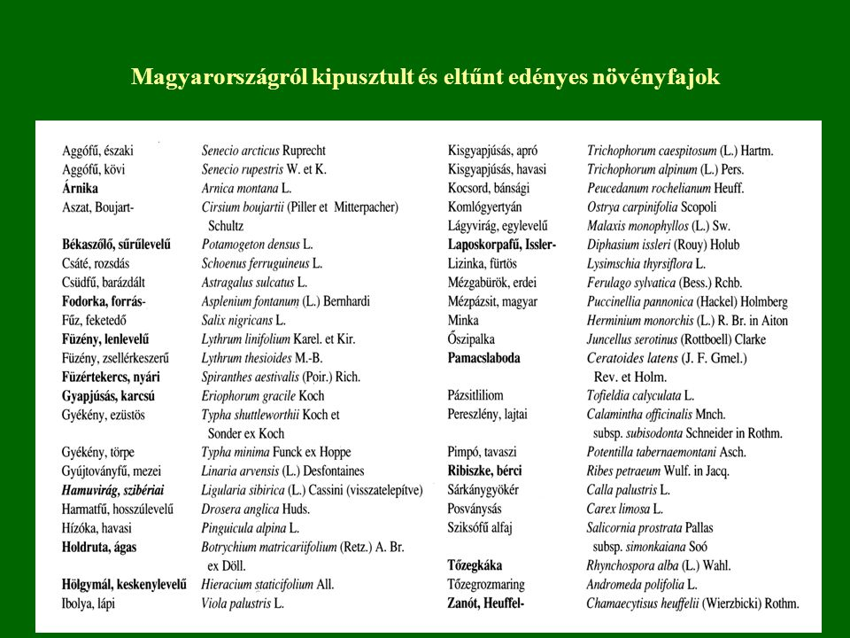 Magyarországról kipusztult és eltűnt edényes növényfajok